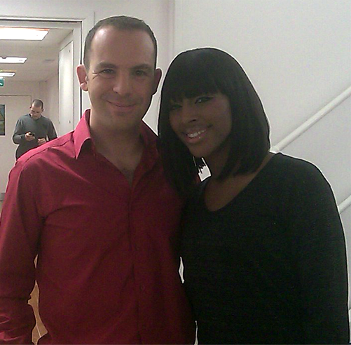 Martin Lewis and Alexandra Burke at GMTV