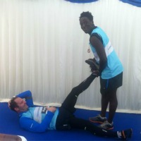 Hamstring stretch courtesy of Andy Akinwolere – it's amazing the things they learn on Blue Peter