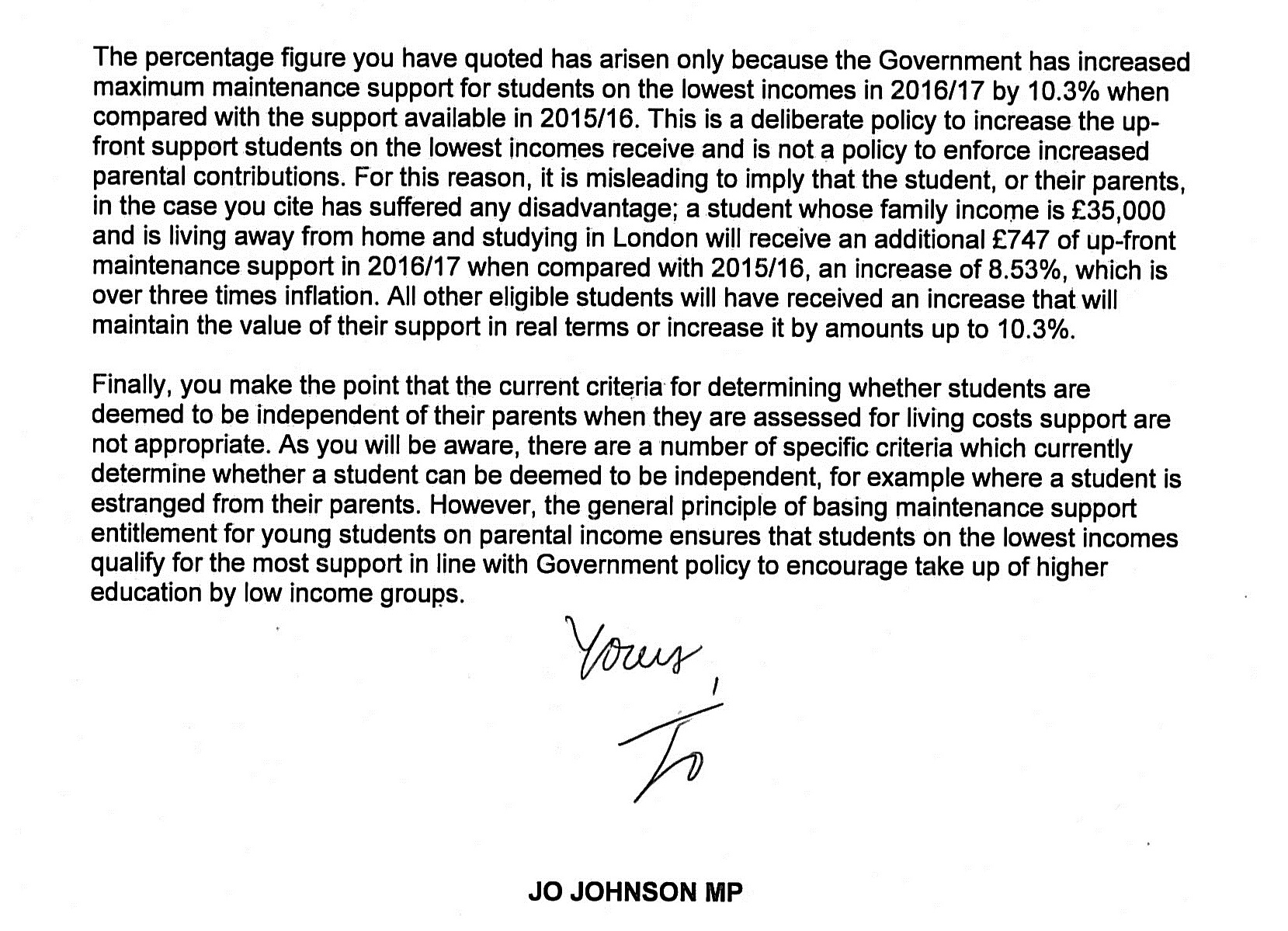 Uni Minister Jo Johnson says NO to my letter asking \'please be ...