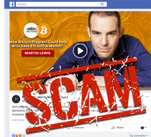 Martin lewis spread the word dont believe scam bitcoin code or the ad looks like this ccuart Image collections