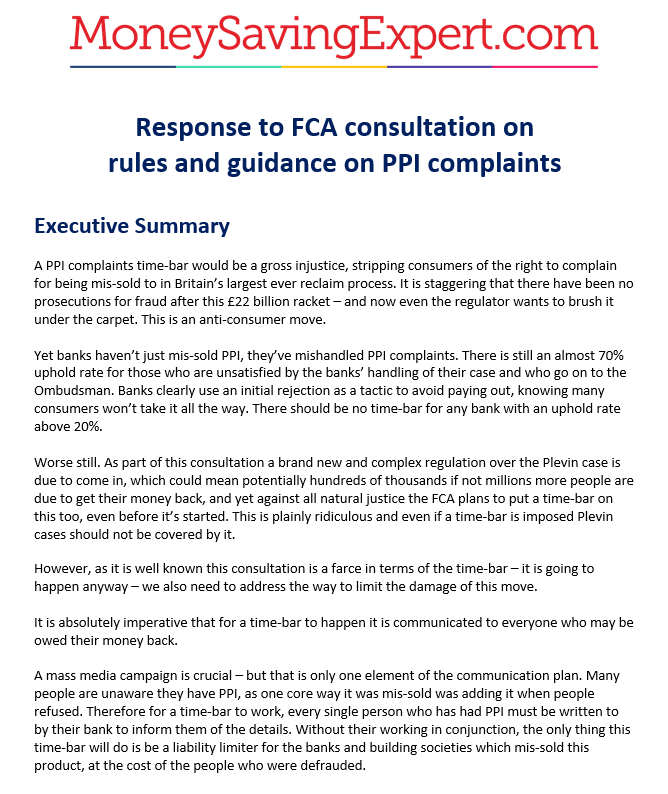 Our response to the regulators ppi time bar consultation its a ps i know some people will be glad to see the end of ppi to stop the hideous spam calls and texts from the ppi claims industry solutioingenieria Image collections