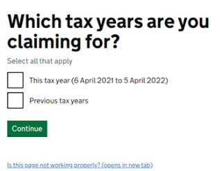 Screengrab from online HMRC microservice allowing you to claim tax relief for this tax year and past tax years
