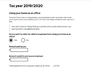 Screengrab from HMRC P87 form, showing 'Using your home as an office' section